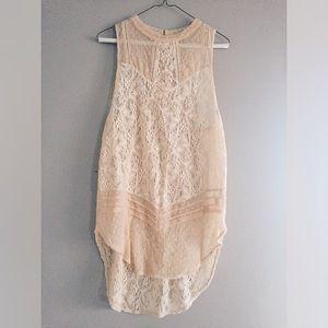 Free People cream / nude lace sleeveless tunic top